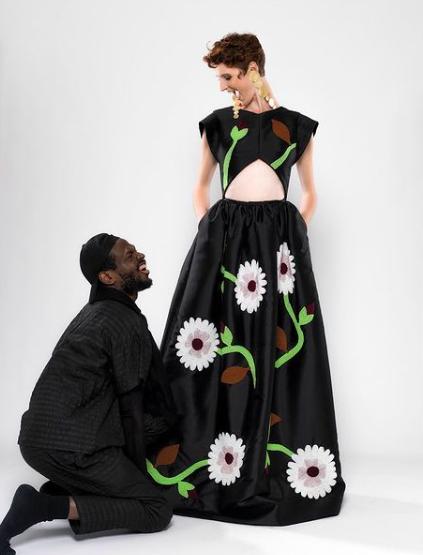 La robe perlée d'Imane Ayissi au Musée des Arts Décoratifs de Paris